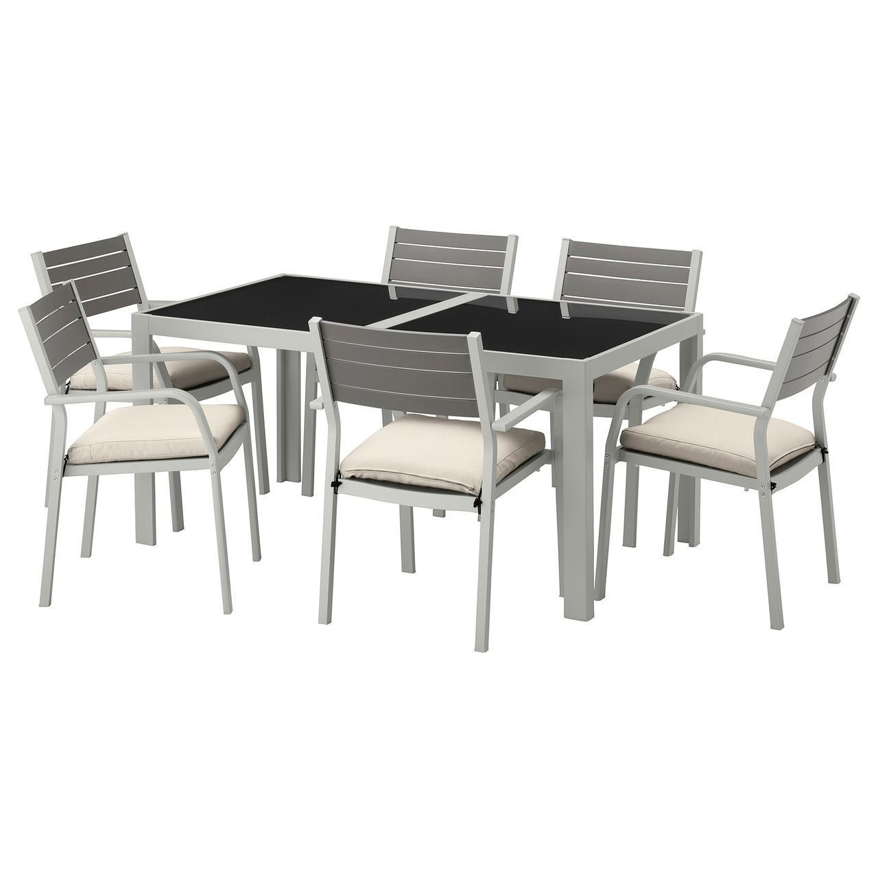 IKEA SJALLAND Садовый стол и 6 стульев, стекло (692.664.55)