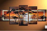 """Модульная картина из 5 элементов """"Африканский пейзаж"""""""