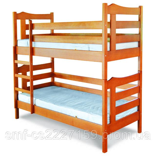 """Ліжко двоповерхове (масив бука)  """"Санта"""" з натурального дерева"""
