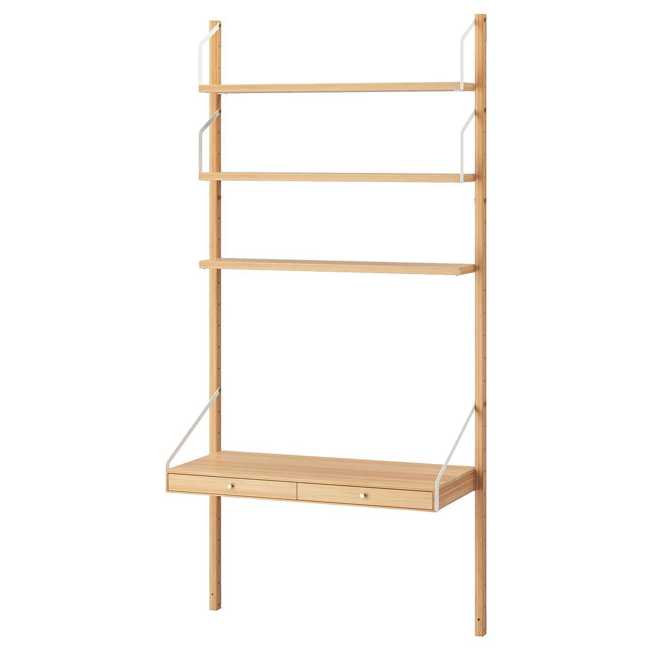 IKEA SVALNAS Настенный стол с полками, бамбук  (292.217.65)