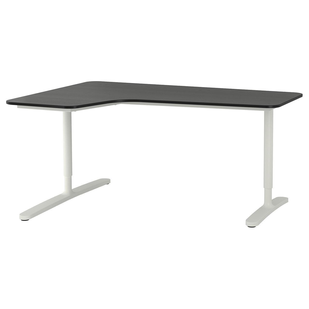 IKEA BEKANT Угловой стол левый, черный окрашенный ясень шпон, белый  (492.828.33)