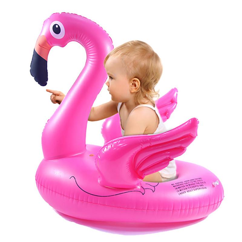 Надувной детский круг ходунки розовый Фламинго