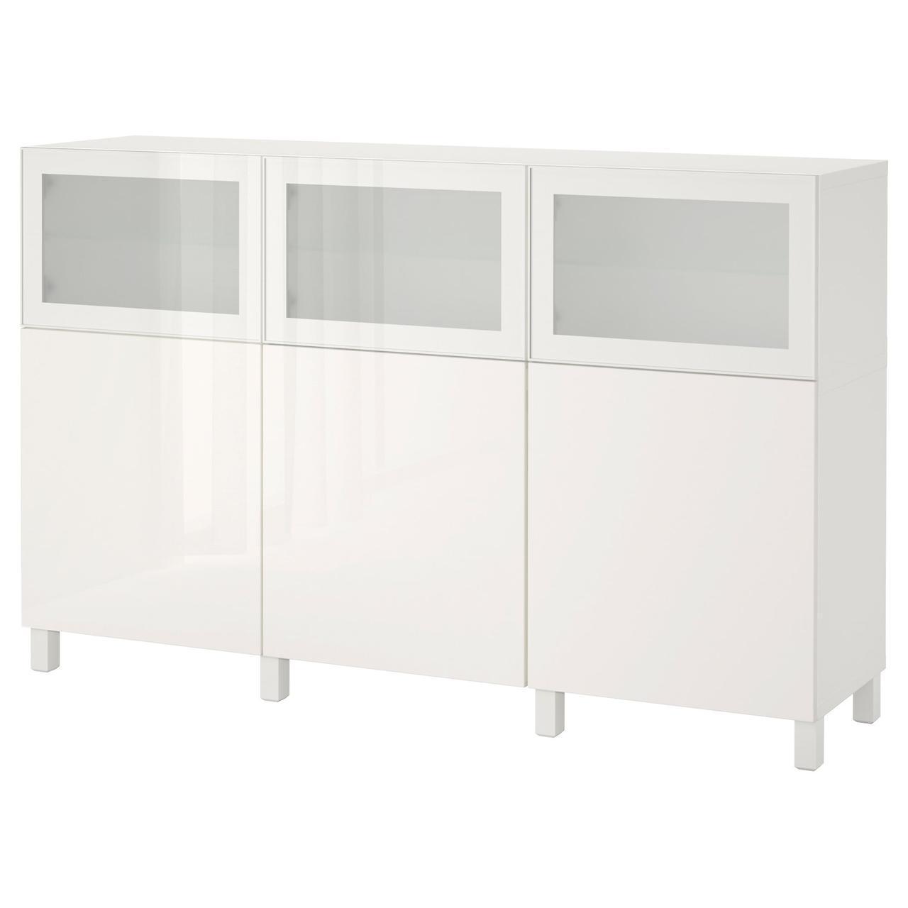 IKEA BESTA Тумба, білий Сельсвикен, Глассвик глянцевий білий матове (892.081.91)
