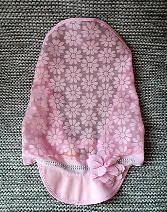 Косынка на девочку с козырьком летняя розового цвета (Польша)  размер 42 44, фото 2