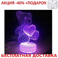 Настольный электрический светильник с 3D эффектом медведь с сердцем + наушники iPhone 3.5
