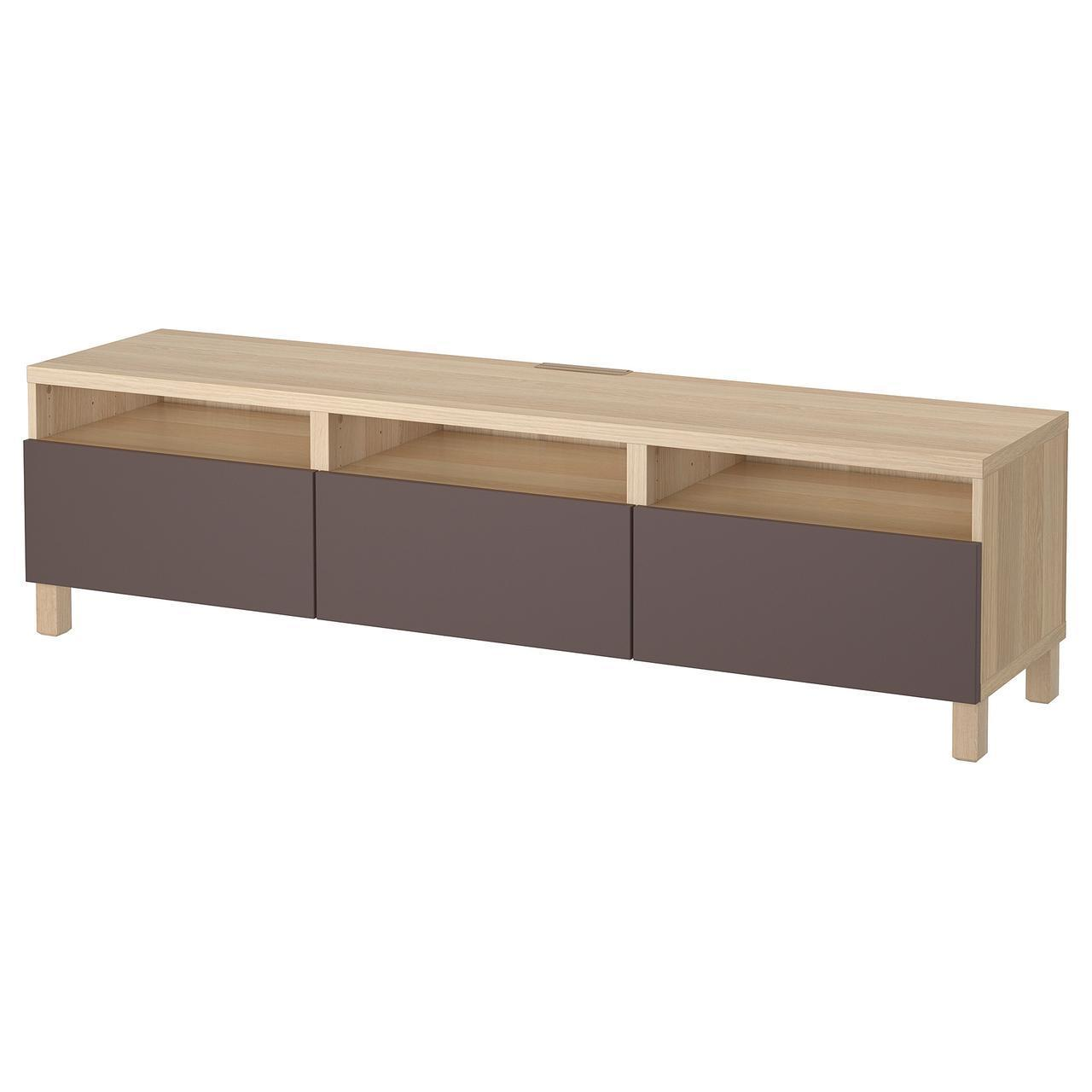 IKEA BESTA Тумба под телевизор с ящиками, белый дуб, Вальвикен темно-коричневый  (691.930.20)