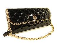 Акция! Клатч женский кожаный Tory Burch 058 черный, лаковая сумочка