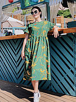 Брендовое платье длины миди Тигры 04058/1