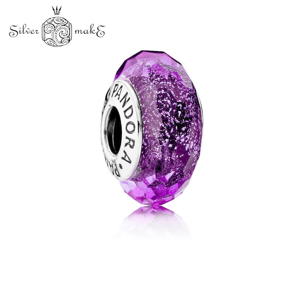 Срібний шарм Pandora Мурано Фіолетове мерехтливе ограненное