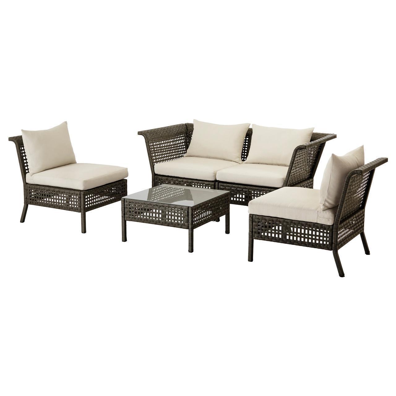 IKEA KUNGSHOLMEN Набор садовой мебели для 4 человек, черно-коричневый, бежевый Холло (690.255.69)