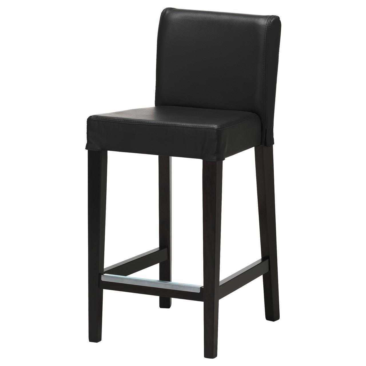 IKEA HENRIKSDAL Барный стул со спинкой, бронза, глосе черный  (503.189.87)