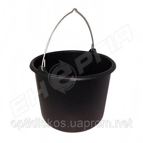 Ведро пластиковое 12 литров Черное/Серое
