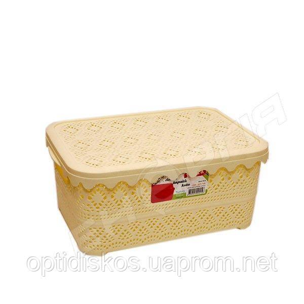 Корзинка пластик с крышкой и ручками 5,5л. №415 (Турция)