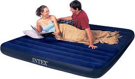 Двухместный надувной матрас Intex 68755 Большой размер с велюровым покрытием 183x203x22 см