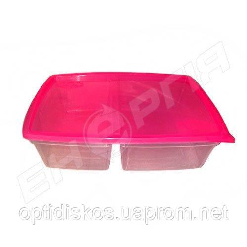 Судок пластик. с крышкой европейский двойной 1,3л (0,8 + 0,5л)