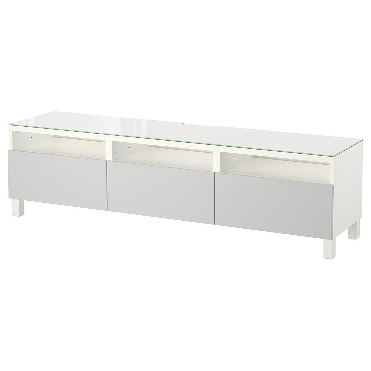 IKEA BESTA Тумба под телевизор с ящиками, белый, Лаппвикен светло-серый  (692.089.41)
