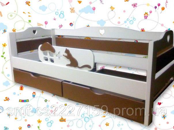 Дитяче ліжко Котик з натурального дерева та декоративними вставками
