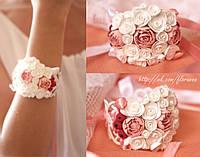 """""""Воздушный букет с розами, пионами и ягодами"""" браслет на руку с цветами для невесты или свидетельницы"""