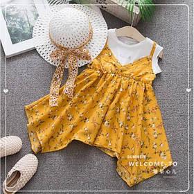 Повседневное детское летнее платье на девочку  2-4 лет + шляпа в комплекте желтое