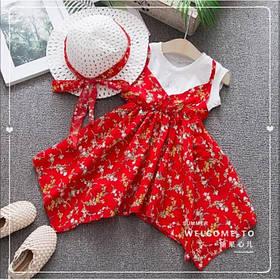 Повседневное детское летнее платье на девочку  2-4 лет + шляпа в комплекте красное