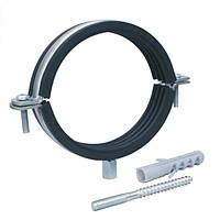 """Хомут для труб сантехнических 2-1/2"""" (70-78 мм) разборной с резиновой прокладкой (дюбель+шпилька)."""