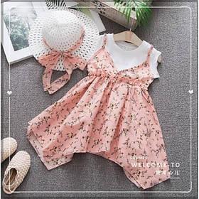 Повседневное детское летнее платье на девочку  2-4 лет + шляпа в комплекте розовое