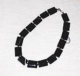 Бусы Агат прямоугольник 25х16 мм 49 см Черный, фото 4