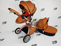 Универсальная коляска 2 в 1 Hot Mom Коричневая (люлька с черным низом текстиль)