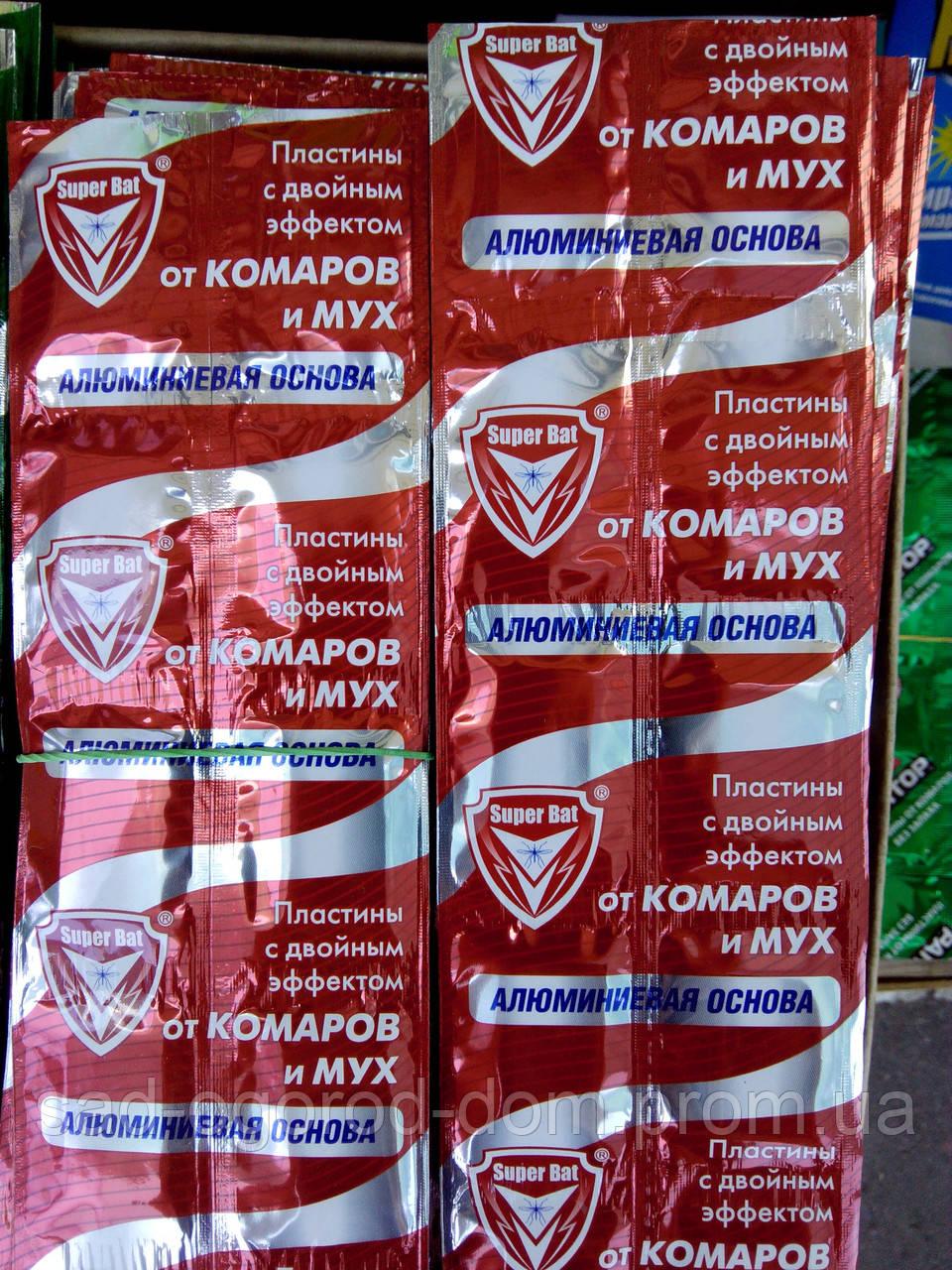 Пластины от комаров и мух SUPER BAT на алюминиевой основе от комаров и мух 10шт.