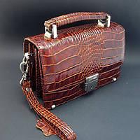 Сумка барсетка Desisan 524-15 коричнева класична шкіряна чоловіча з натуральної шкіри