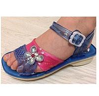 Сандали (босоножки) для девочки силиконовые синие с цветком (размеры 28,29,30,33)