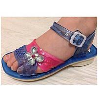 Сандалі (босоніжки) для дівчинки силіконові сині з квіткою (розміри 28,29,30,33)