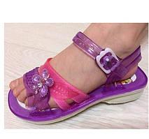 Сандалі (босоніжки) для дівчинки силіконові фіолетові з квіткою розмір Тільки 30