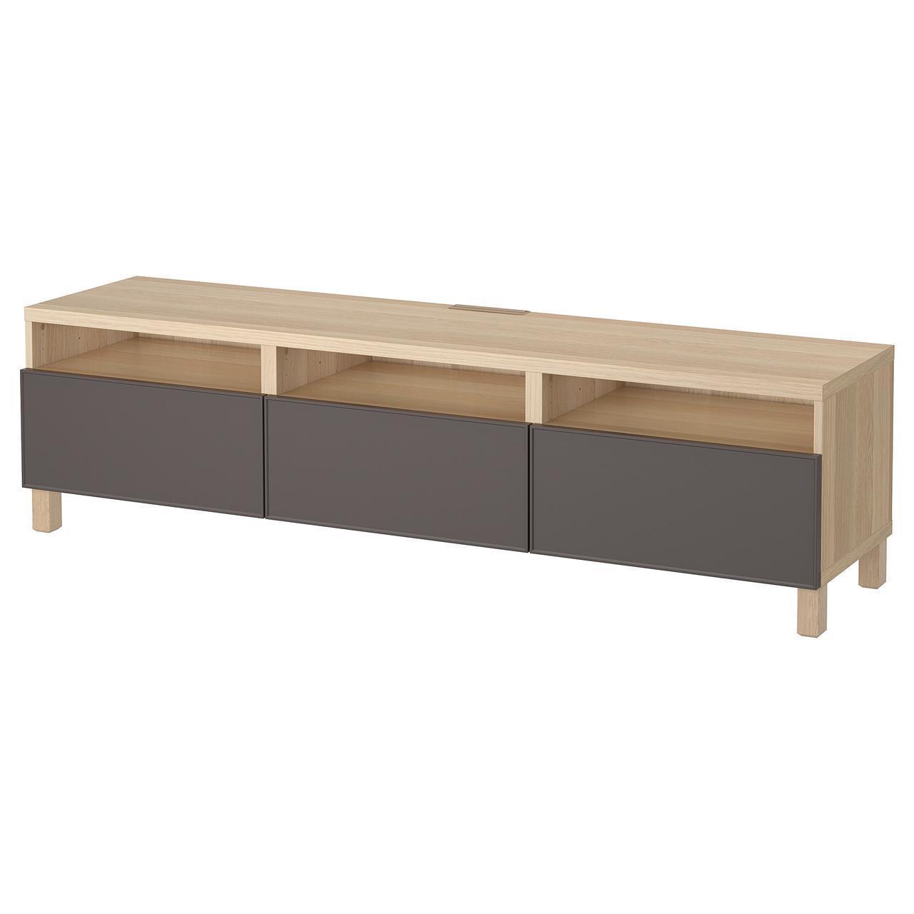 IKEA BESTA Тумба под телевизор с ящиками, белый дуб, Грундсвикен темно-серый  (892.057.67)