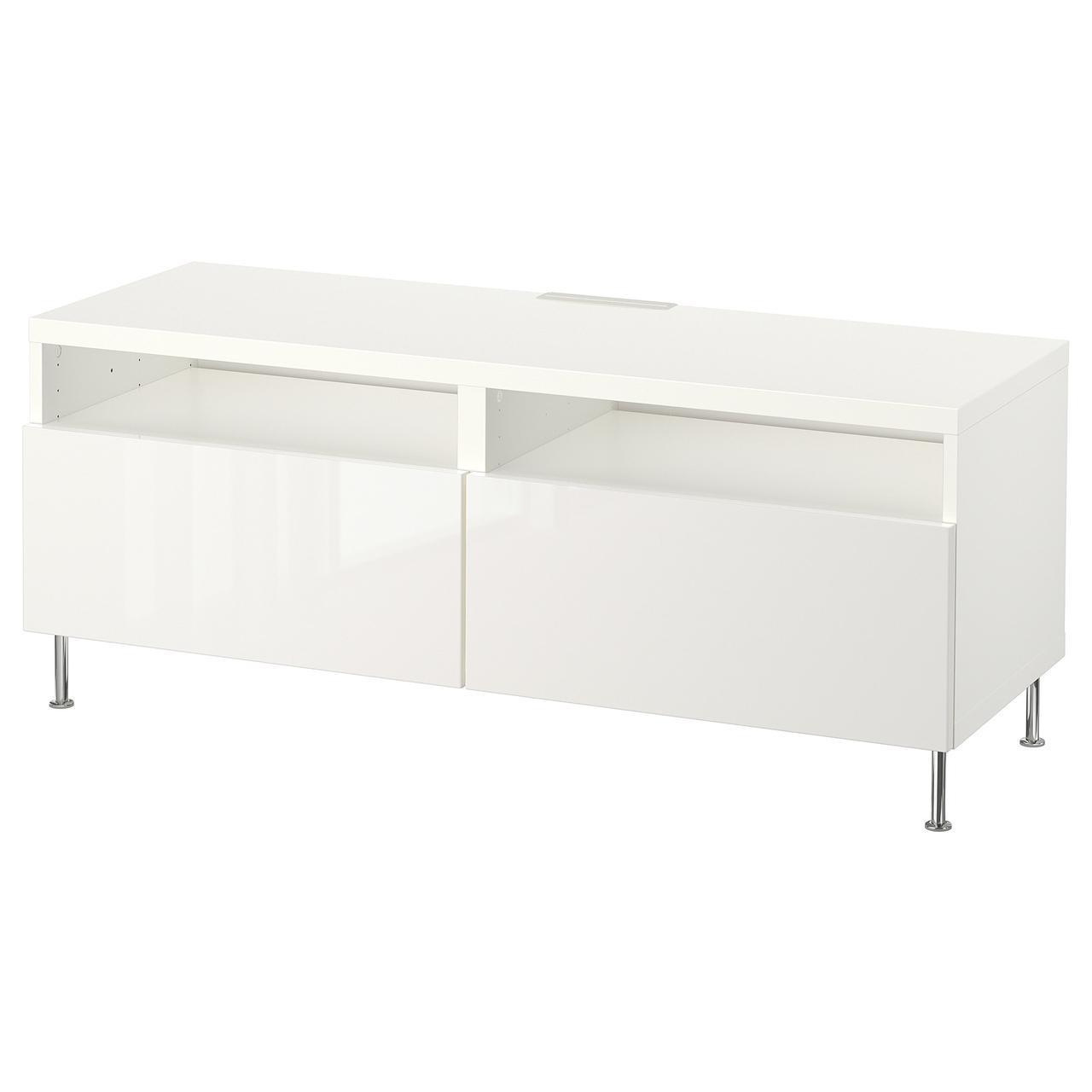 IKEA BESTA Тумба под телевизор с ящиками, белый, Сельсвикен/Сталларп глянцевый/белый  (592.671.77)