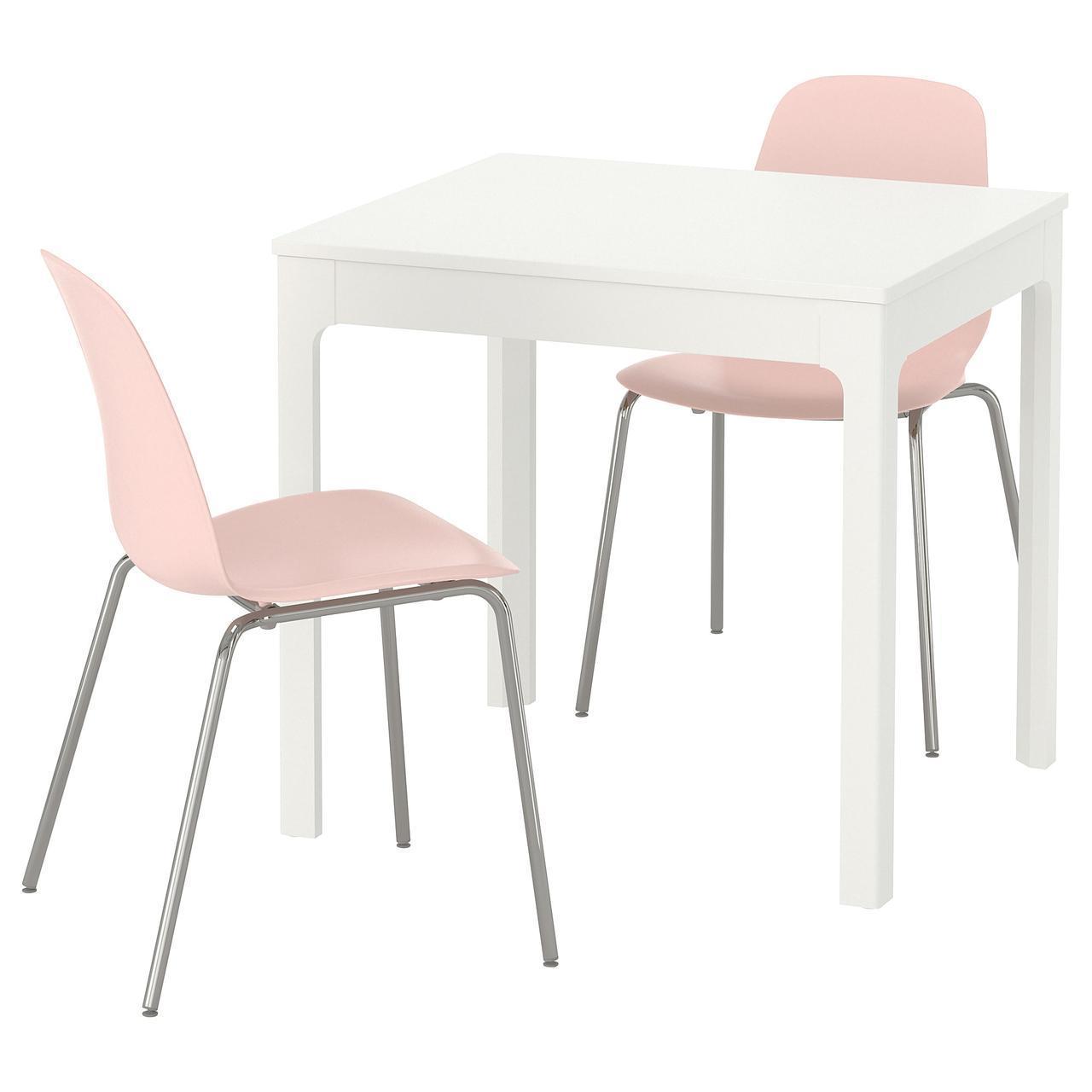 IKEA EKEDALEN/LEIFARNE Стол и 2 стула, белый, розовый  (992.213.28)