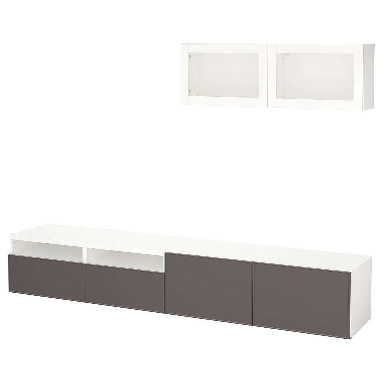 IKEA BESTA Тумба под телевизор с стеклянными дверьми, белый Грундсвикен, (592.072.92)