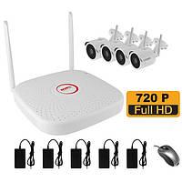 WiFi комплект беспроводного видеонаблюдения на 4 камеры 1 Мп на 400 метров LONGSE WIFI2004PG1S100