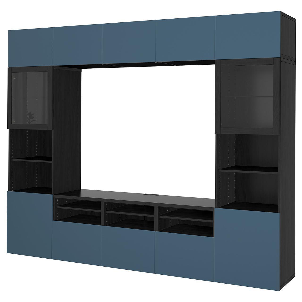 IKEA BESTA Тумба под телевизор с стеклянными дверьми, черно-коричневый Вальвикен, (692.033.21)