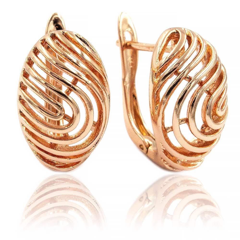 Серьги Позолота (Медицинское золото) Широкий овал,узор из петель (б/к)
