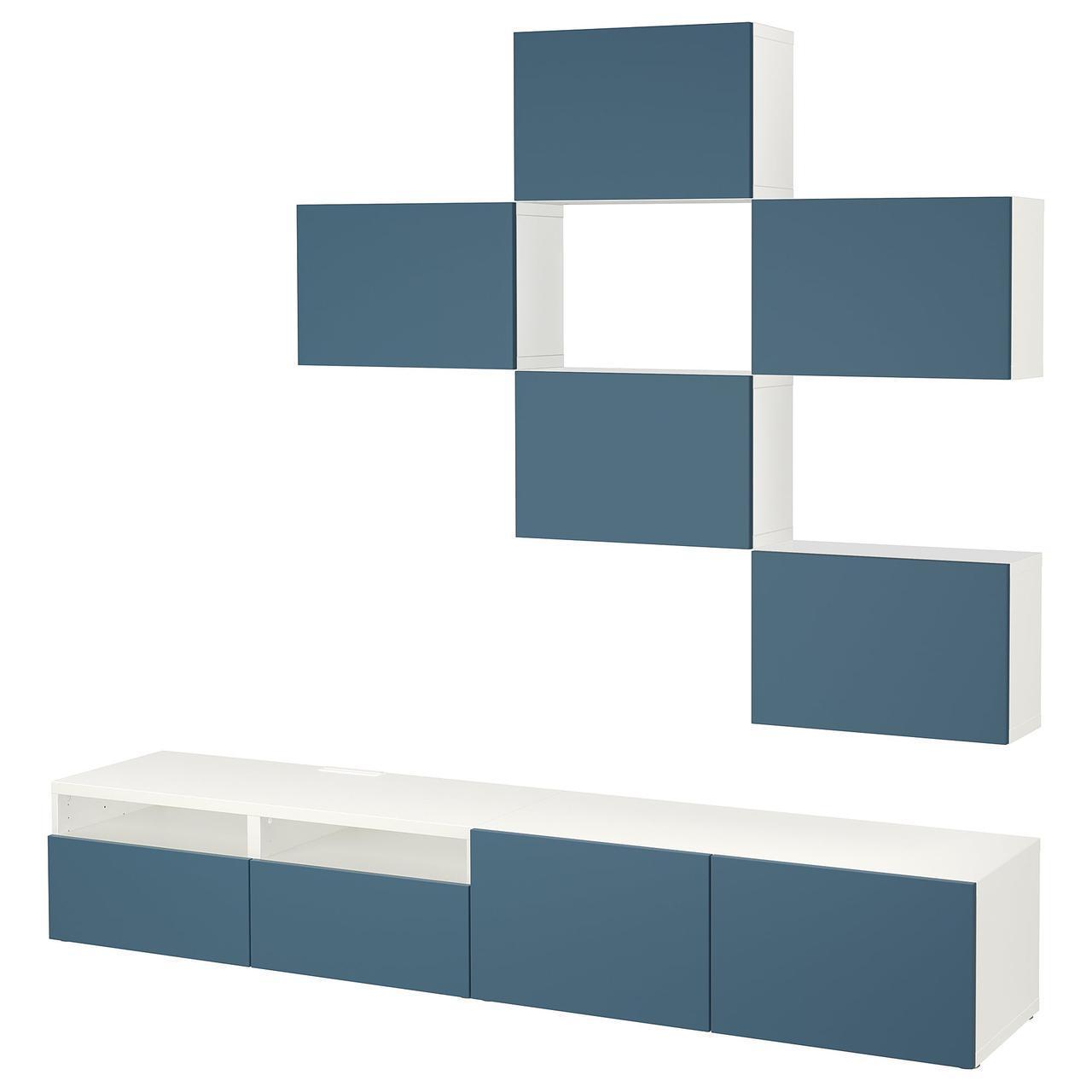 IKEA BESTA Тумба под телевизор, белый, Вальвикен синий  (992.021.03)