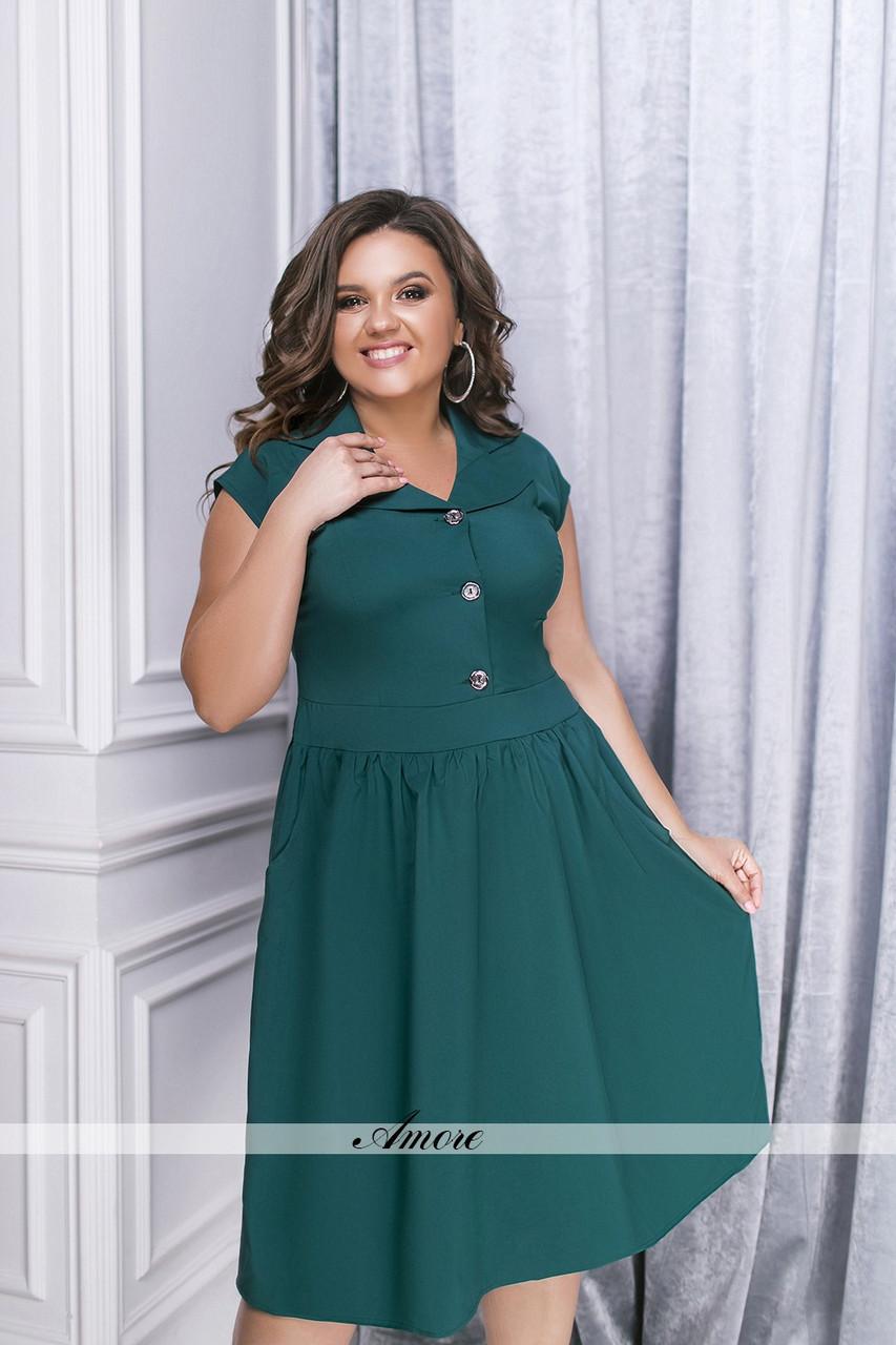 1e13b6a9d5f08fd Летнее однотонное платье с карманами. Зелёное, 2 цвета. Р-ры: 52,54 ...