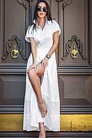 Летнее женское белое хлопковое платье