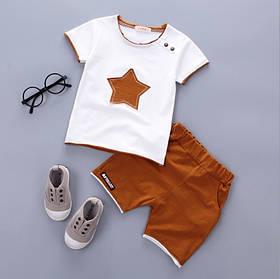 Літній костюм на хлопчика футбока +шорти 1-4 роки зірочка коричневий