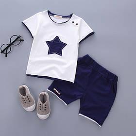 Літній костюм на хлопчика футбока +шорти 1 рік зірочка синій