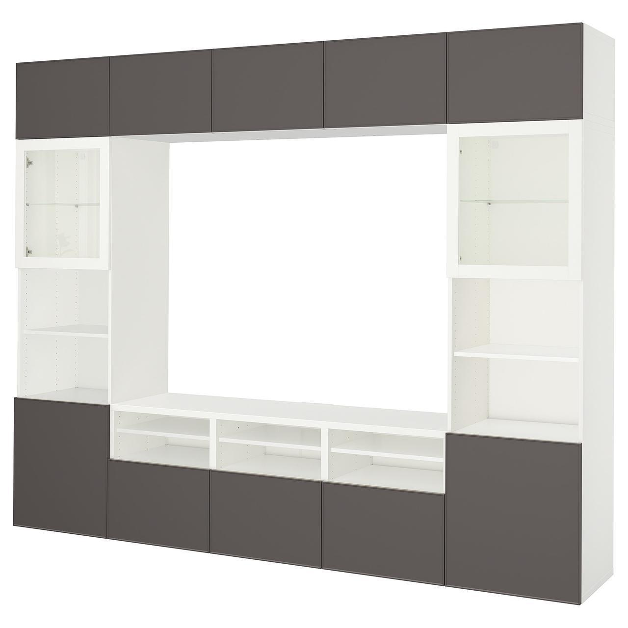 IKEA BESTA Тумба под телевизор с стеклянными дверьми, белый Грундсвикен, (392.034.93)