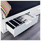 IKEA BRIMNES Раскладная кровать с 2 ящиками и 2 матрасами, белый, Хусвика жесткий  (791.838.55), фото 4