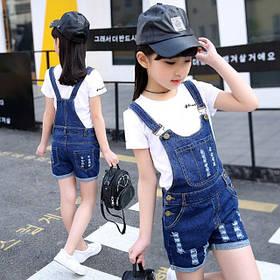 Комбинезон детский летний джинсовый на девочку синий 4-8 лет