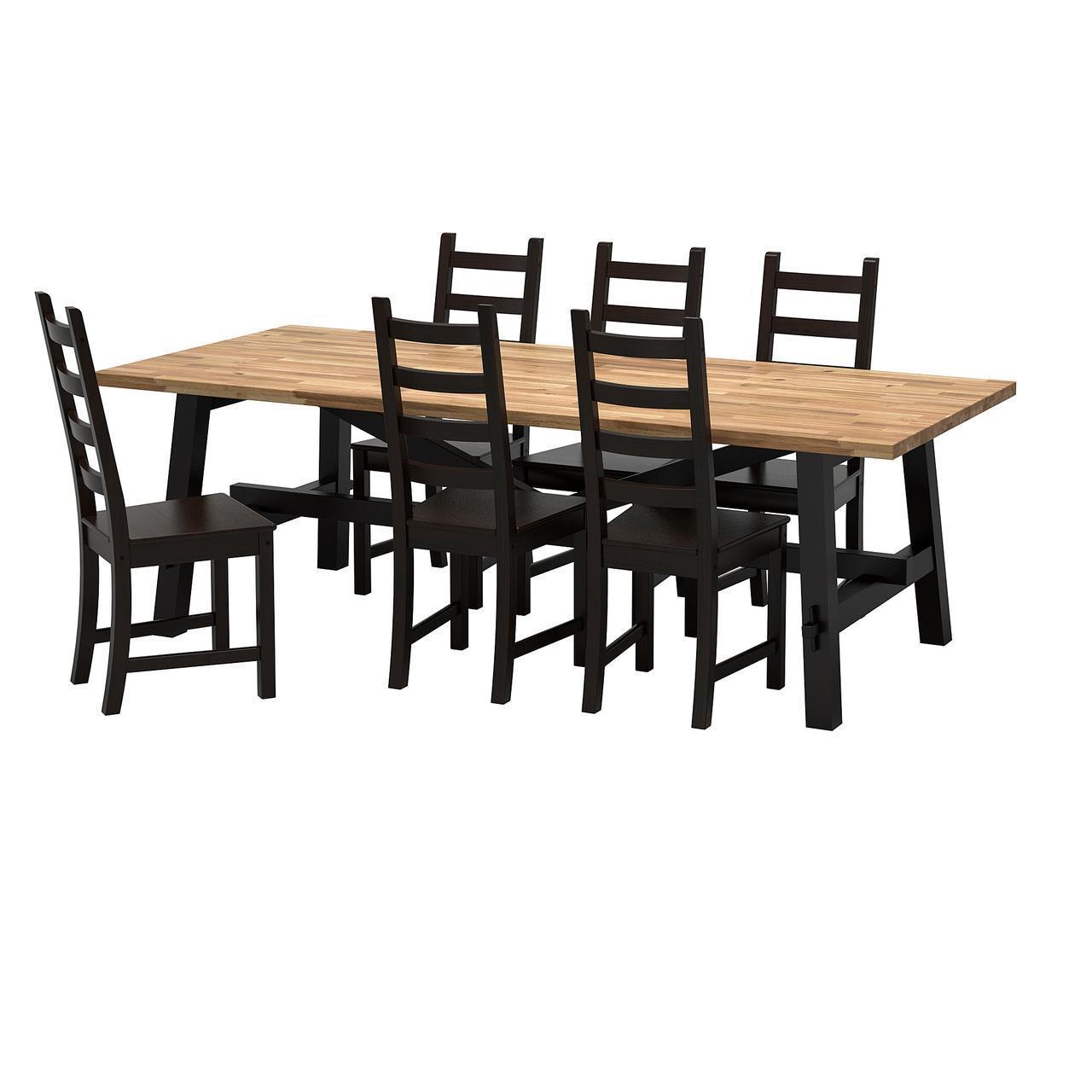 IKEA SKOGSTA/KAUSTBY Стол и 6 стульев, акация, коричневый  (492.462.94)