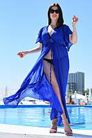 Пляжная женская  однотонная туника в пол в большом размере, фото 1